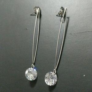 Lia Sophia Silver Tone Clear Rhinestone Earrings